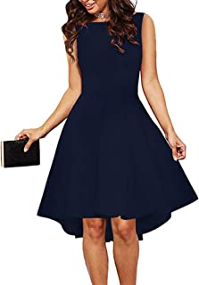 33b01cf07a6a6 ReoRia Women Sleeveless Boat Neck High Low Cocktail Skater Swing Dress