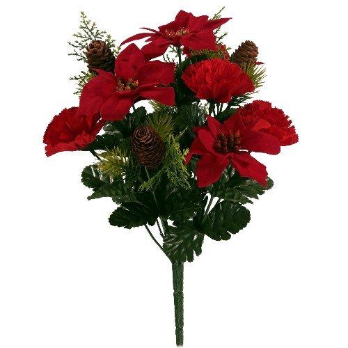 Clavel de Poinsettia artificial rojo y cono de pino de 39 cm