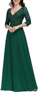 Ever-Pretty Vestido de Fiesta Lentejuelas Manga Larga Mujer A-línea Escote en V Imperio Elegant 00751