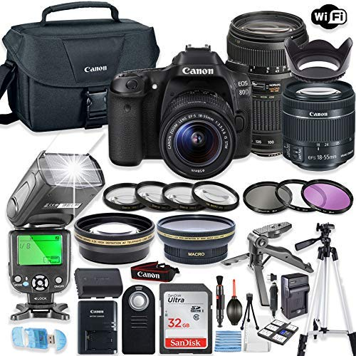 Canon EOS 80d DSLR Camera Bundle with Canon EF-S 18-55mm STM Lens & Tamron 70-300mm Zoom Lens + 32GB Sandisk Memory + Canon Case + TTL Speedlight Flash (Good Upto 180 Feet) + Accessory Bundle