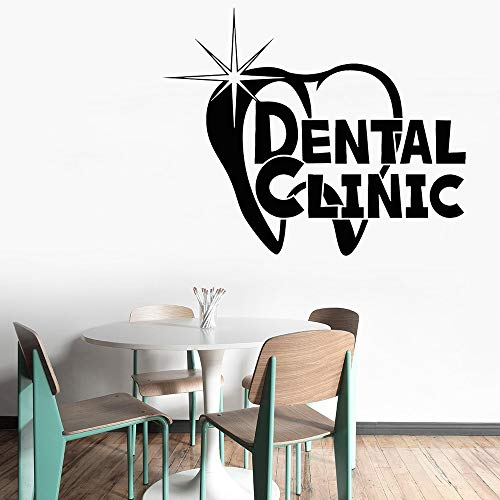 jtxqe Dental Clinic Logo Teeth Health Stomatology Teeth Dental Care Wall Decal Sticker Quotes Removable Wall Stickers Home Decoration For Living Room And Bedroom 52X42 Cm