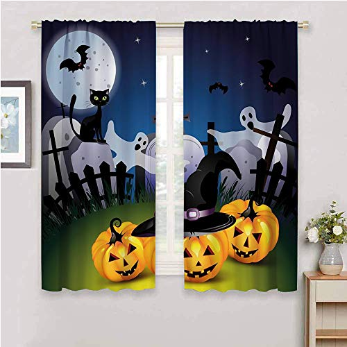 DIMICA Backdrop Curtain for Bedroom Decor Sketchy Figure of halloween funny cartoon design with pumpkins witches hat ghosts graveyard full moon cat 2 Panel Sets multicolor W63 x L45 Inch