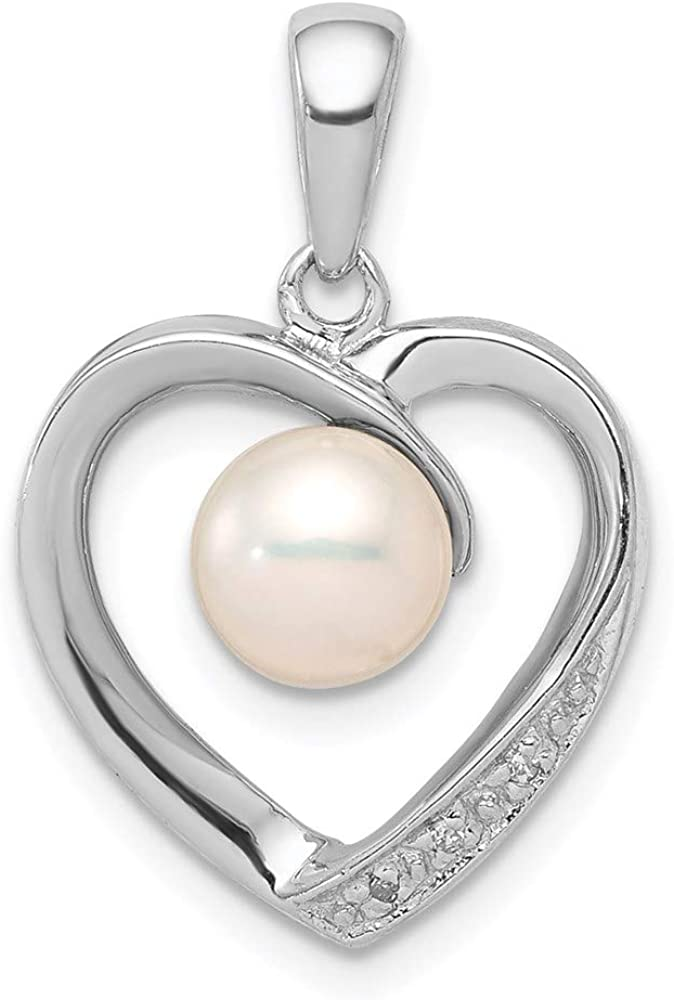 Sterling Silver Rhodium 6mm Oklahoma City Mall FW Pe Diamond Pearl Cultured Heart 70% OFF Outlet