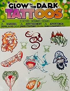 Temporary Tattoos ~ Glow in the Dark 1 ~ Savvi ~ 20 Count ~ Snake Skull Pirate Sport