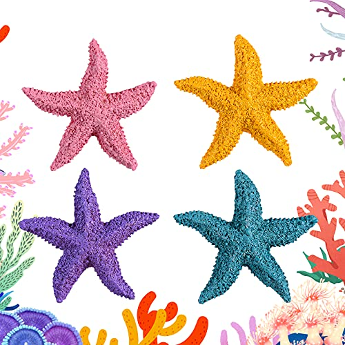 GOUHRRY 4 Pieces Resin Starfish Aquarium Decoration Multi-Colored Artificial Starfish Ornament for Fish Tank for Home Decor Wedding Decoration and Craft Project