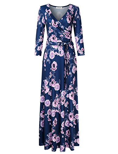 RONSHIN Fashion for Leadingstar dames 3/4 mouw V-hals bloemenprint Boho maxi wikkeljurk