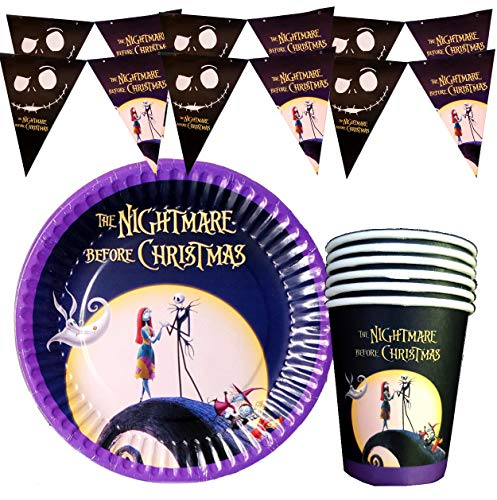 22PC COMBO : 10PC BANNER + 6PC CUP + 6PC PLATE JACK SKELLINGTON PARTY SUPPLIES DECORATION THEME BIRTHDAY NIGHTMARE BEFORE XMAS CHRISTMAS HALLOWEEN A3