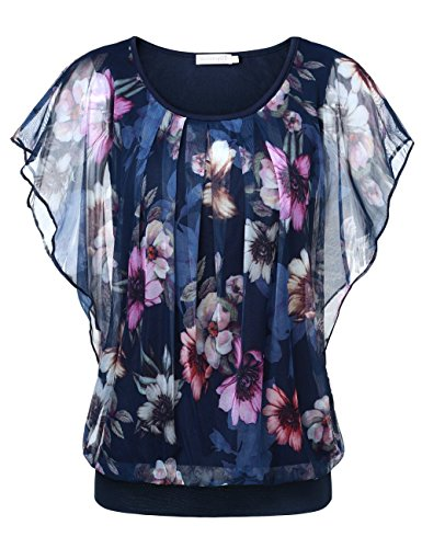 BAISHENGGT Women's Flouncing Flared Short Sleeve Mesh Blouse Top X-Large Navy-Floral