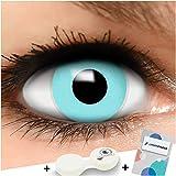 Farbige Kontaktlinsen Blau in blau + Behälter - Top Linsenfinder Markenqualität, 1Paar (2 Stück)