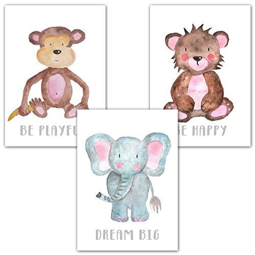 Frechdax® 3er Set Kinderzimmer Poster Babyzimmer DIN A4 ohne Bilderrahmen | Mädchen Junge | Kinderposter Kunstdruck im skandinavischen Stil | schwarz/weiss oder bunt | Set-15