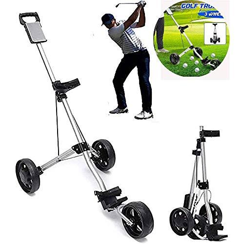 HYQW Golf Push Cart, Verstellbarer Golf Trolley Cart 3 Räder Push Pull Golf Cart Klappbarer Wagen Aus Aluminiumlegierung Mit Bremse Für Outdoor-Reisesport,Silver