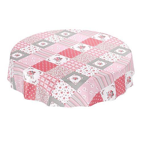 Anro - Mantel de hule, lavable, diseño de patchwork, Rosa, Rund 120cm