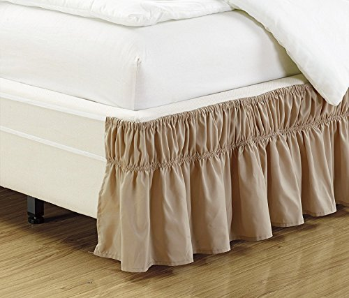 Fancy Collection Queen - King Easy Fit Bed Ruffle wrap Around Elastic Bed Skirt with 17' Drop New Easy Install Solid Taupe New