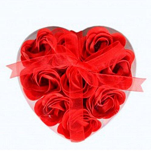 Dayan Corps Bain de Fleur de Coeur Favor Savon Rose Pétale Décoration Cadeaux de Mariage - Rouge