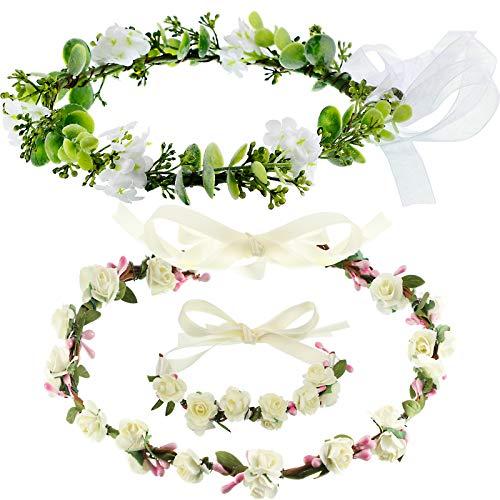 3 Pieces Flower Crown Wristband Set, Adjustable Flower Wreath Headband Floral Crown Garland Headpiece Bridal Green Leaf Crown Bohemian Headpiece for Women Girls Wedding Festival Party Photo Prop