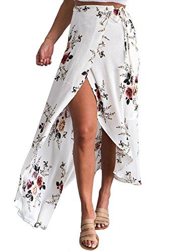 Walant Damen Langrock, Strandkleid, Sommer, Blumendruck, elegantes Kleid, Boho, Chiffon, unregelmäßig, vorne geschlitzt, sexy Röcke, hohe Taille, dünn Gr. S, weiß