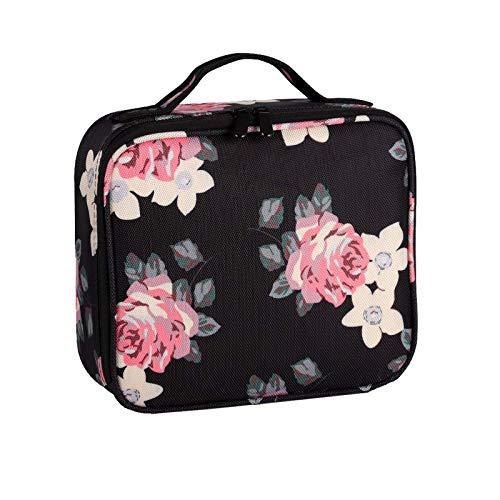 Make Up Bag Professional Beauty Case da Viaggio Makeup Astuccio per Trucco Valigetta Organizzativa Borsa Trucchi Custodia Cosmetica Impermeabile con Divisori Regolabili(Stile Fiori)