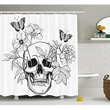Ambesonne Day Of The Dead Decor Shower Curtain, Skull with Flower Blooms and Butterflies Vintage Gothic Print, Fabric Bathroom Decor Set with Hooks, 70 Inches, Black and White