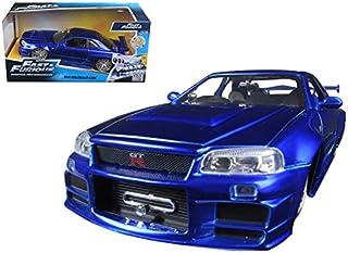 "Brian's Nissan GTR Skyline R34 Blue ""Fast & Furious"" Movie 1/24 Model Car by Jada"