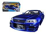Brian's Nissan GTR Skyline R34 Blue 'Fast & Furious' Movie 1/24 Model Car by Jada
