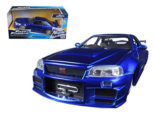 Brian's Nissan GTR Skyline R34 Blue 'Fast & Furious' Movie 1/24 Model Car by Jada