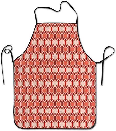 GUUi visgraat patroon in retro kleuren eenvoudige Funky ontwerp van klassieke mozaïek tegel schort unisex keuken koershals voor koken tuinieren, volwassen grootte