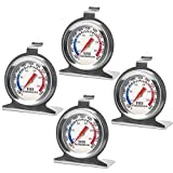 WXJ13 Oven Thermometer Stainless Steel Instant Read Oven/Grill/Smoker Monitoring Thermometer ProcAccurate Kitchen Cooking Mechanical Thermometer for BBQ Baking (4 Pack)