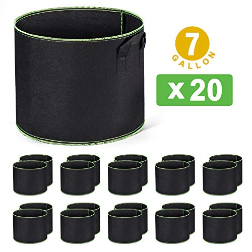 Delxo 20-Pack 7 Gallon Grow Bags Heavy Duty Aeration Fabric Pots Thickened Nonwoven Fabric Pots Plant Grow Bags with Handles