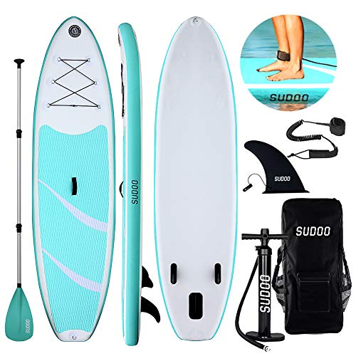 Triclicks Tabla Hinchable Paddle Surf/Sup Paddel Surf con Bomba,  Mochila,  Aleta Central Desprendible,  Kit de Reparación,  Remo Ajustable,  La Cinta para Atar al Pie(300 * 75 * 15cm- Grosor) Verde/Blanco