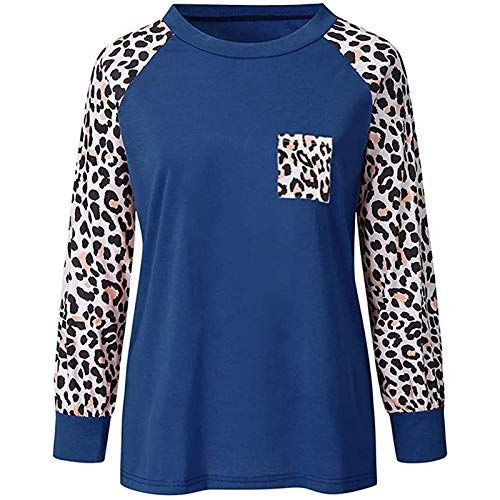 Blusa Informal para Mujer, 2020 con Mangas de Leopardo, suéter Holgado de Manga Larga con Cuello Redondo para...