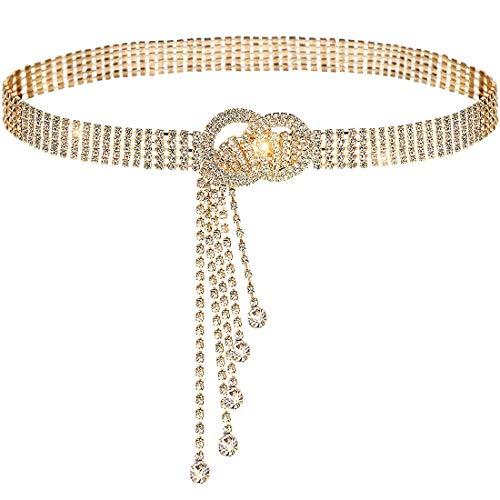 Moda Cinturón De Cadenas Para Mujer, Cinturones de Cadena Mujer, Cadena de Cintura con Doble Junta Tórica de Diamantes de Imitación Ajustable para El Vestido de Cuerpo Para Diario Fiesta Boda(Dorado)
