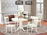 5 Pc Dining-Room Set Table With Self Storing Butterfly Leaf And Four Wood Seat Chairs For Dining
