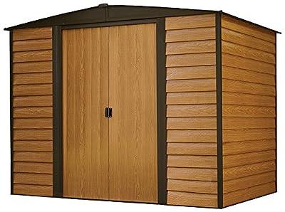 Arrow Woodridge Low Gable Steel Storage Shed, Coffee/Woodgrain