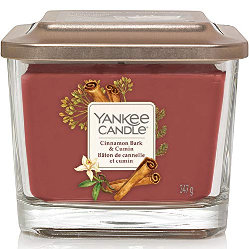 Yankee Candle Medium 3-Wick Square Scented Candle | Cinnamon Bark and Cumin | Up to 38 Hours Burn Time | Elevation Collection with Platform Lid
