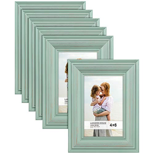 Langdon House 4x6 Real Wood Picture Frames (6 Pack, Eggshell Blue - Gold Accents), Wooden Photo Frame 4 x 6, Wall Mount or Table Top, Lumina Collection