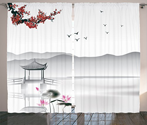 """Ambesonne Asian Curtains, Japanese Style Garden Bird and Small Pavilion Over The Lake Lotus Waterlily, Living Room Bedroom Window Drapes 2 Panel Set, 108"""" X 84"""", Grey Pink"""