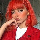 WIG MINE Peluca hembra naranja brillante pelo liso corto en línea celebridad aire franja mullida pel...