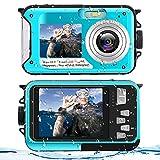 Unterwasserkamera Wasserdichte Kamera 2,7K Full HD 48,0 MP Unterwasser kamera Selfie Dual Screens Blitzlicht Digitalkamera zum Schnorcheln