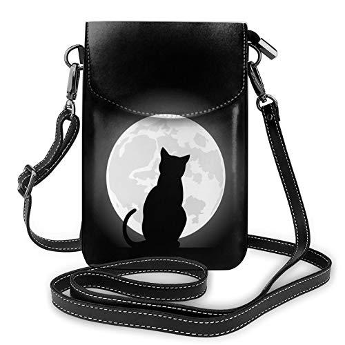 Cat Moon - Bolso cruzado para teléfono celular, bolsa para teléfono celular, bolso cruzado para teléfono celular, monedero con correa para el hombro, bolso de mano de mano de cuero