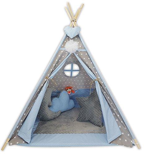 Golden Kids Kinder Spielzelt Teepee Tipi Set für Kinder drinnen draußen Spielzeug Zelt Indianer Indianertipi mit Fenster usw. Tipi mit Zubehör - Grauer Mond