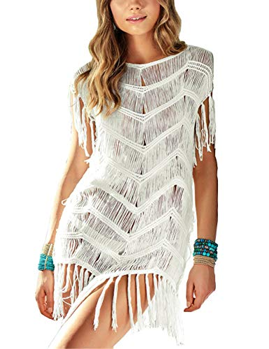 QIUYEJUO Women#039s Crochet Swimsuit Beach Cover Up Loose Fringe Bathing Suit Bikini Dress