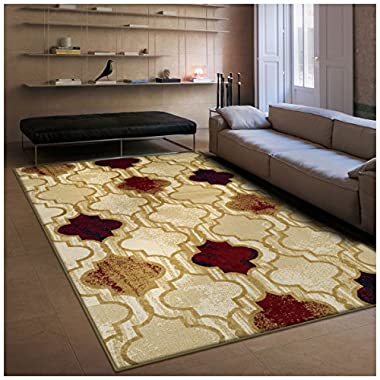 Superior Modern Viking Collection Area Rug, 10mm Pile Height with Jute Backing, Chic Textured Geometric Trellis Pattern, Anti-Static, Water-Repellent Rugs - Beige, 5' x 8' Rug