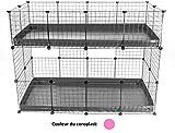 4x2 Cavy Cage Kavee - Grilles Modulaires Correx Cochon d'Inde - Double Etage, Rose