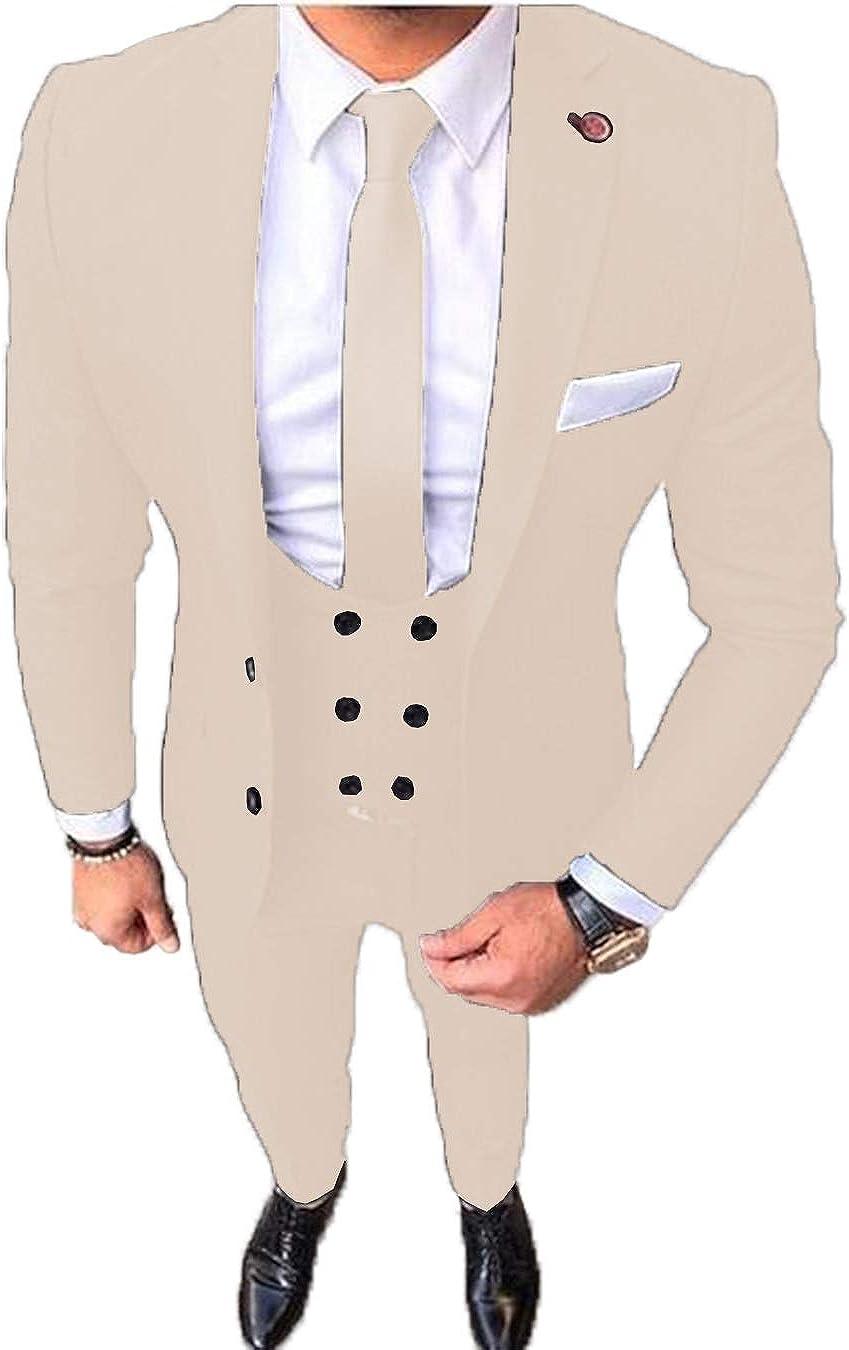 Men's 3 Pieces Formal Mens Suit Slim Fit Blazer Tuxedos for Wedding Groomsmen(Blazer+Vest+Pants)