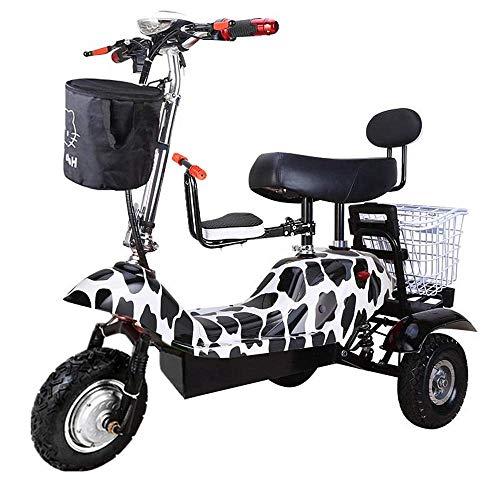 LUO Elektroroller , Mini-Klapp-Elektro-Dreirad, Tragbares Elektroauto Für Erwachsene, 48-V-Lithiumbatterie-Steuerfahrrad (Hält 200 Kg Stand),Weiß-A