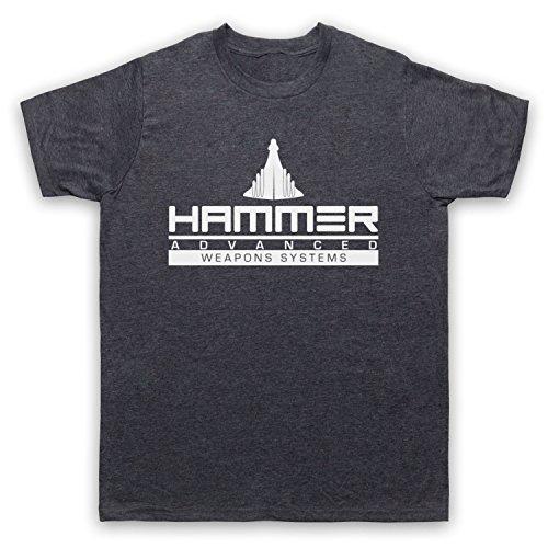 Camiseta para hombre con diseño de martillo de hierro, de Death To Videodrome, con diseño de martillo de hierro avanzado Gris Pizarra jaspeada. L
