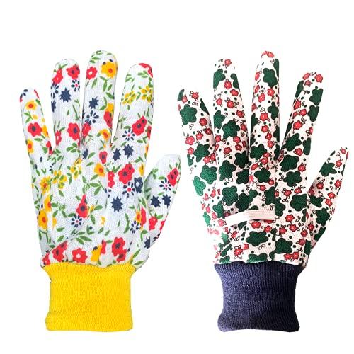 Kleine Gartenhandschuhe für Damen (2 Paar) Frauen Gartenhandschuhe klein leicht Arbeit Blumen Gartenhandschuhe Set Damen Gartenhandschuhe klein - Baumwolle