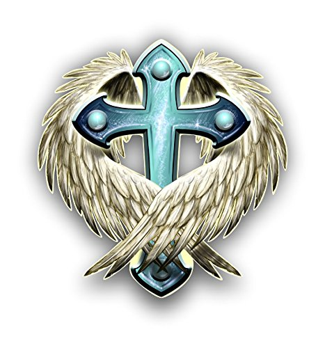 Vinyl Junkie Graphics Angel Wing and Cross Sticker/Decal
