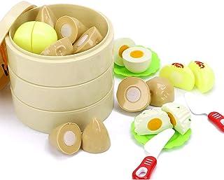 Coxeer 16PCS Kitchen Playing Set Creative Play Food Set Cutting Toy Set for Children