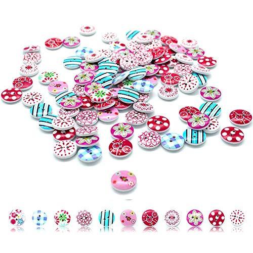 200 unids 15 mm botones de madera para niños dos agujeros florales botones botones hechos a mano de bricolaje para costura, elaboración y decoración